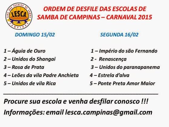 ORDEM DE DESFILE DAS ESCOLAS DE SAMBA DE