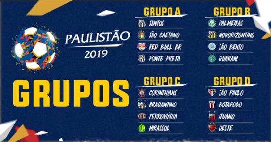 grupos paulistão 2019